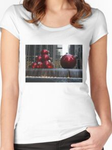 A Christmas Card from New York City - Manhattan Skyline Reflecting in Giant Red Balls Women's Fitted Scoop T-Shirt