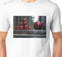 A Christmas Card from New York City - Manhattan Skyline Reflecting in Giant Red Balls Unisex T-Shirt