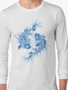 Blue Koi Fish T Shirt Long Sleeve T-Shirt