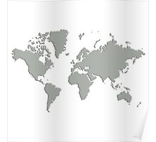 World With No Borders - gray Poster