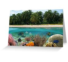 Tropical beach and underwater marine life Greeting Card