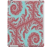 Red Vintage Swirls on Blue iPad Case/Skin