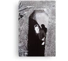 self portrait in freshly dug grave Canvas Print
