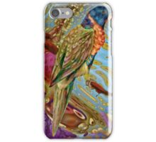 Scarlett Parakeet: inspired by the bird drawings of Edward Lear iPhone Case/Skin