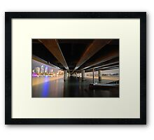 Under the Gold Coast bridge at night Framed Print