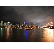Swing Moorings on Nerang River at Night Photographic Print