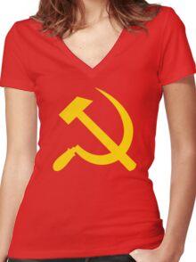 Communism - Soviet Union - Hammer Sickle Star Women's Fitted V-Neck T-Shirt
