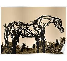 Wooden Horse at Sunset Poster