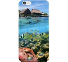 Coral reef fish underwater and tropical huts over water iPhone Case/Skin