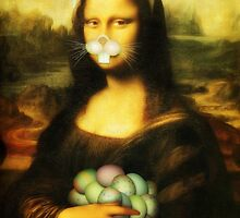 Mona Lisa Easter Bunny with Whiskers by Gravityx9