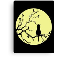 The Cat And The Moon (v2) Canvas Print