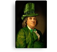 St Patrick's Day for Lucky Ben Franklin   Canvas Print