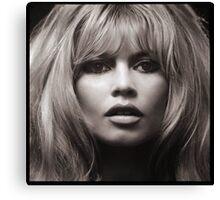 Brigitte Bardot's face up close poster Canvas Print