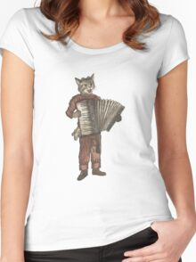 Accordion Cat with Goggles and Mask Women's Fitted Scoop T-Shirt