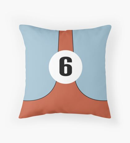 Race Winning #6 blue and orange racing livery Throw Pillow