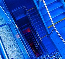 blue staircase in the new townhall of innsbruck by hermanncorrente