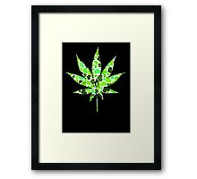 Love and Weed - Love and Pot - Weed leaf with green hearts Pouch Framed Print