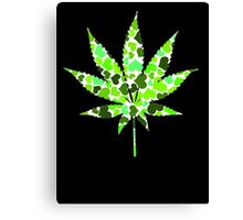 Love and Weed - Love and Pot - Weed leaf with green hearts Pouch Canvas Print