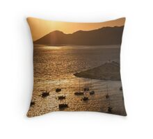 Harbor in Sunset (Greece) Throw Pillow