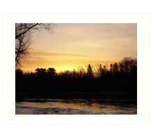 Mississippi river Orange Sky Art Print