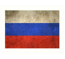 Old and Worn Distressed Vintage Flag of Russia Art Print