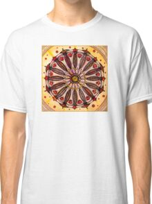 Orange mandala.Hand draw  ink and pen, Watercolor, on textured paper Classic T-Shirt