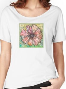 Red Poppy.Hand draw  ink and pen, Watercolor, on textured paper Women's Relaxed Fit T-Shirt