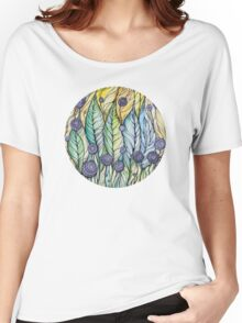 Dandelions.Hand draw  ink and pen, Watercolor, on textured paper Women's Relaxed Fit T-Shirt