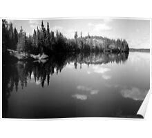 Lake Landscape in B&W Poster