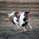 Bucking Pinto Horse by Val  Brackenridge