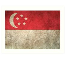 Old and Worn Distressed Vintage Flag of Singapore Art Print