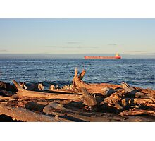 Freighter Passing by Whitefish Point Photographic Print