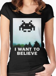 Believe in the Invaders. Women's Fitted Scoop T-Shirt
