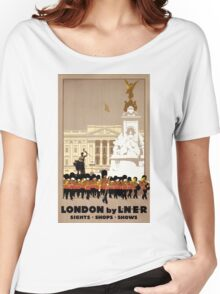 London Vintage Travel Poster Restored Women's Relaxed Fit T-Shirt