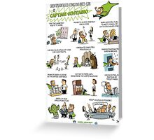 Captain Sustaino's Green Tips for the Eco-Conscious Office Goer  Greeting Card
