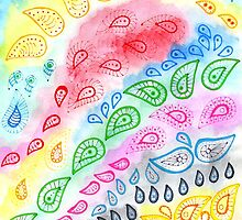 Paisleys over watercolor by Heaven7