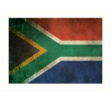Old and Worn Distressed Vintage Flag of South Africa Art Print