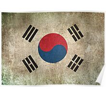 Old and Worn Distressed Vintage Flag of South Korea Poster