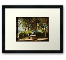 Kids have fun, while the clothes are dried Framed Print