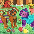 'Cracked Dogs' In The Park by Lisa Frances Judd~QuirkyHappyArt