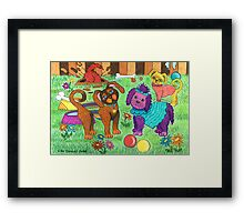 'Cracked Dogs' In The Park Framed Print