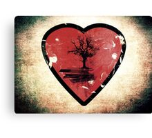 Love Nature - Grunge Tree and Heart - Earth Friendly T Shirt Canvas Print