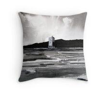 """Light in Dark # 1"" - Beach Lighthouse, Burnham-on-Sea, Somerset Throw Pillow"