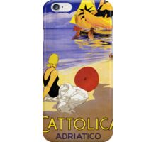 Cattolica Adriatico Italy Vintage Travel Poster Restored iPhone Case/Skin