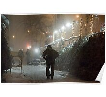 Christmas Snow in New York City Poster