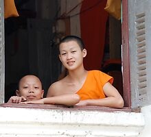 Novice Monks at Window by Ken Gibson