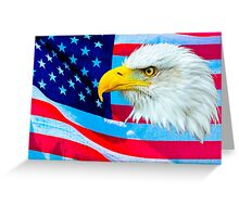Bald Eagle Head over Stars and Stripes Greeting Card