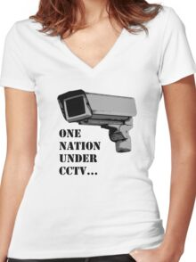 One nation Under CCTV Women's Fitted V-Neck T-Shirt