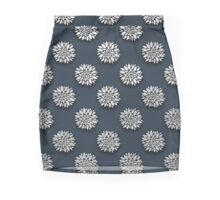 Blue And Silver Floral Pattern Pencil Skirt
