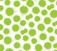 Inky Blots - Martian Green on White by Artberry